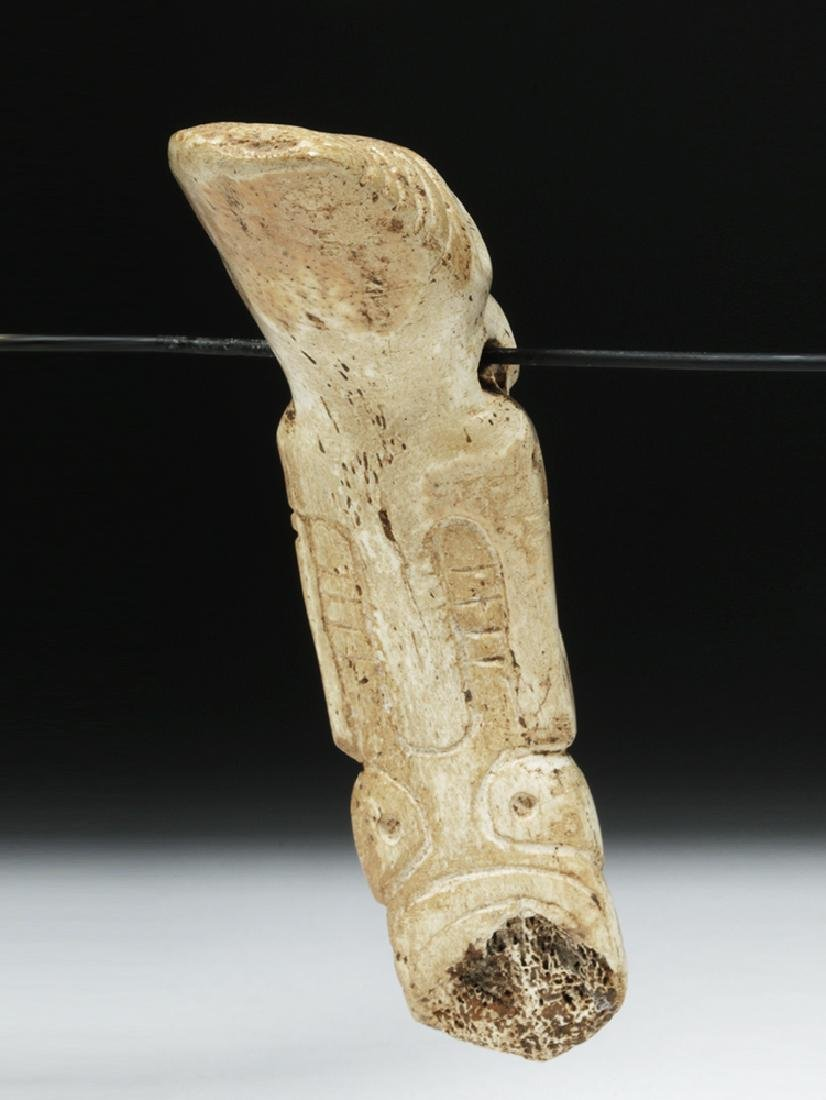 Taino Carved Bone Pendant - Sacred Zemi - 4