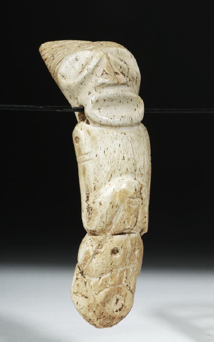 Taino Carved Bone Pendant - Sacred Zemi - 5