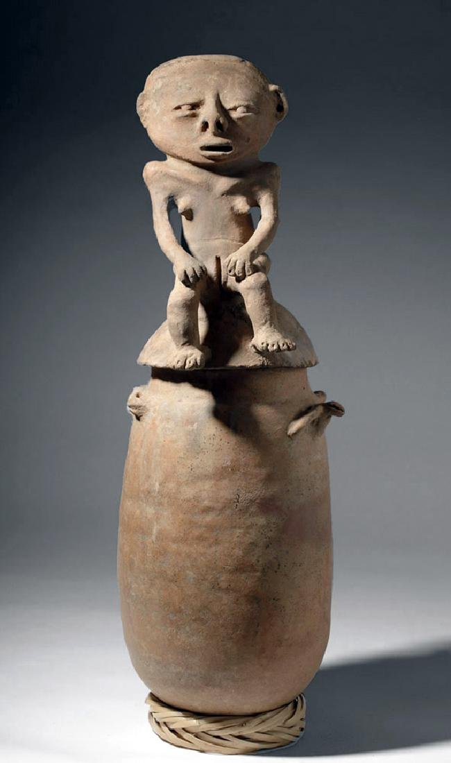 Large Rio Magdalena Pottery Urn - Seated Female Lid