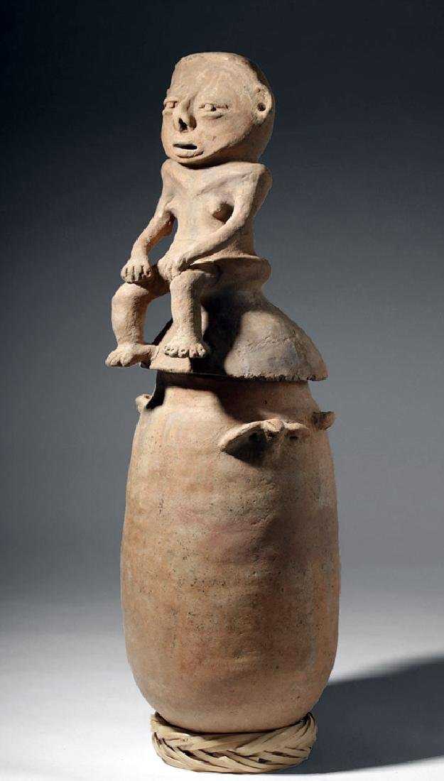 Large Rio Magdalena Pottery Urn - Seated Female Lid - 2