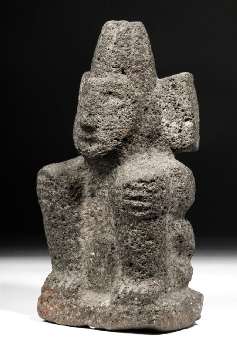 Aztec Carved Stone Figure of a Seated Deity