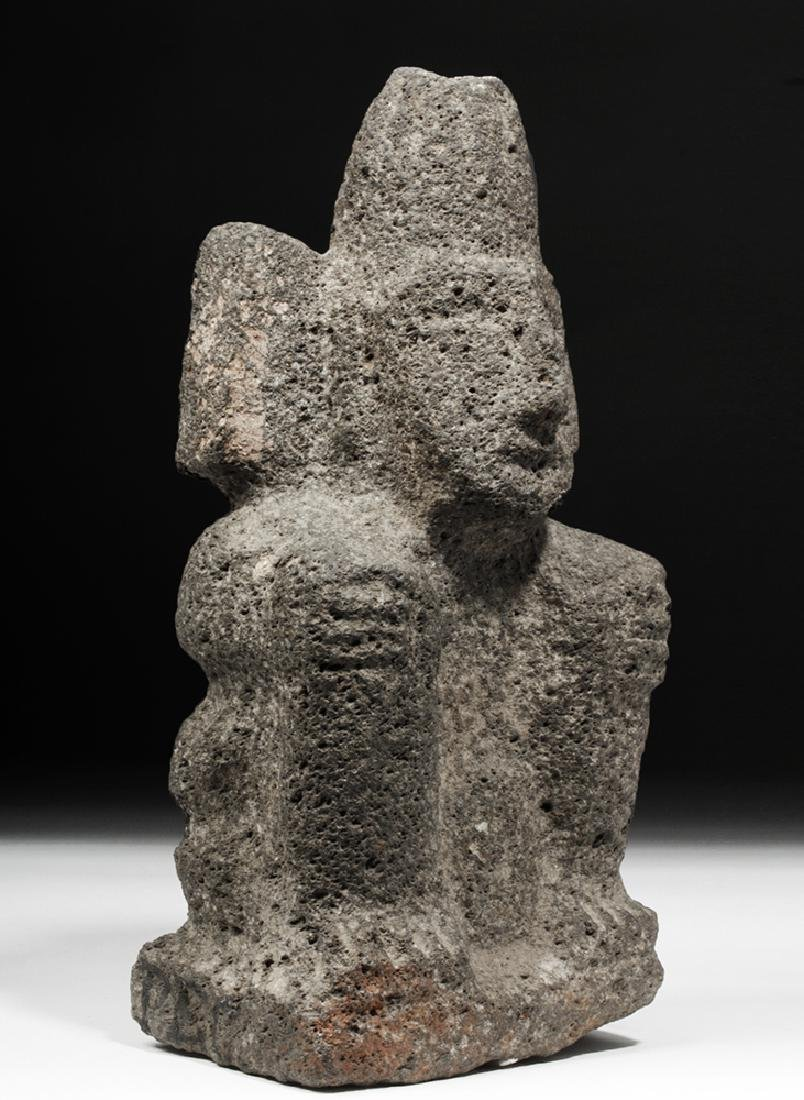 Aztec Carved Stone Figure of a Seated Deity - 2