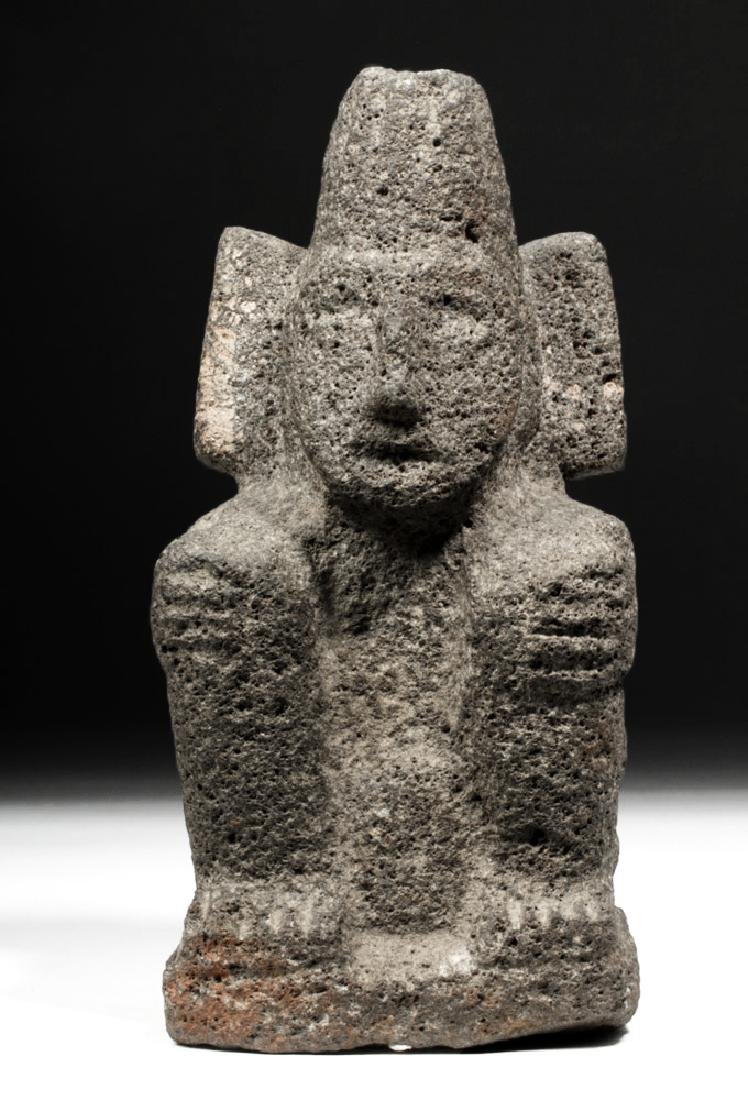 Aztec Carved Stone Figure of a Seated Deity - 5