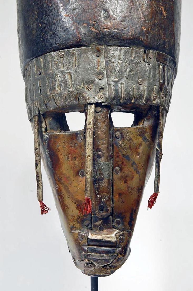 20th C. African Warka Wood Triangular Face Mask