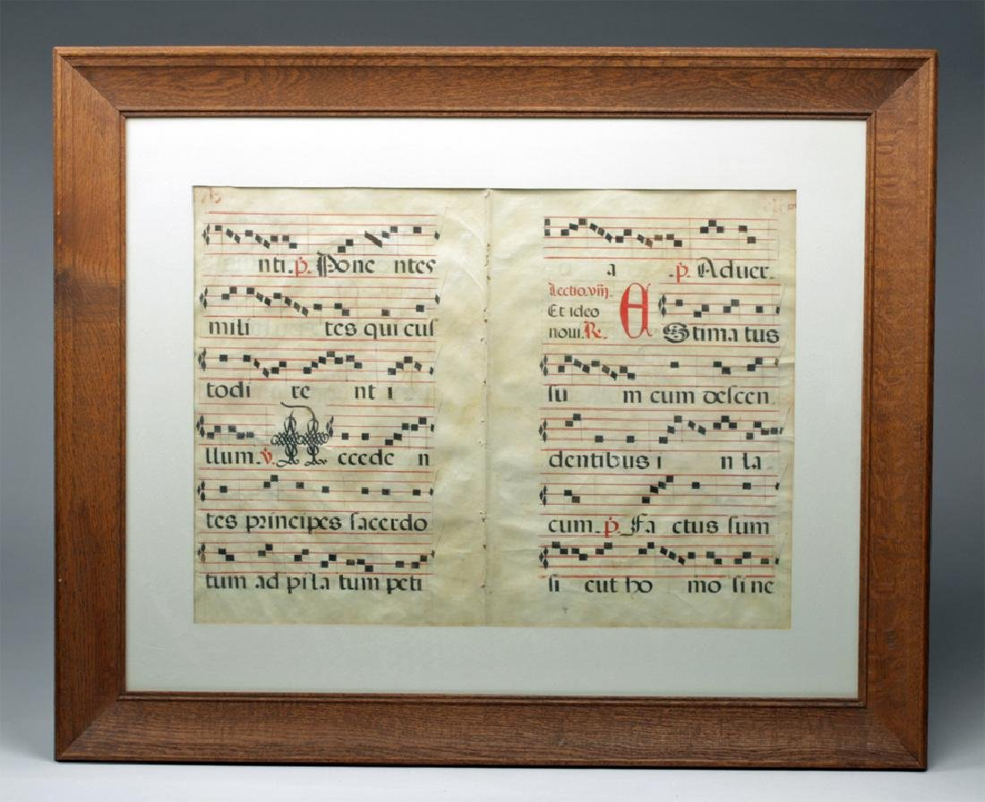 Framed 15th C. Spanish Hymnal Pages - Ink on Vellum
