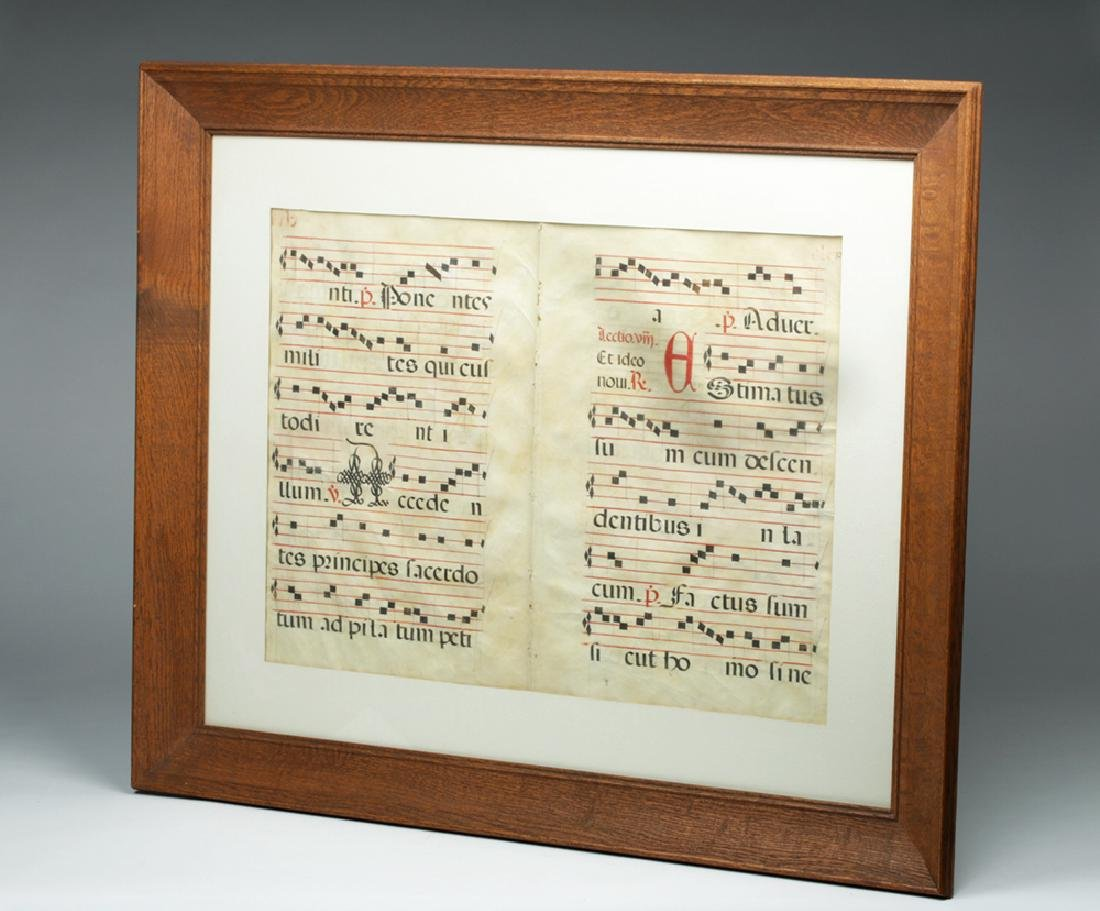 Framed 15th C. Spanish Hymnal Pages - Ink on Vellum - 3
