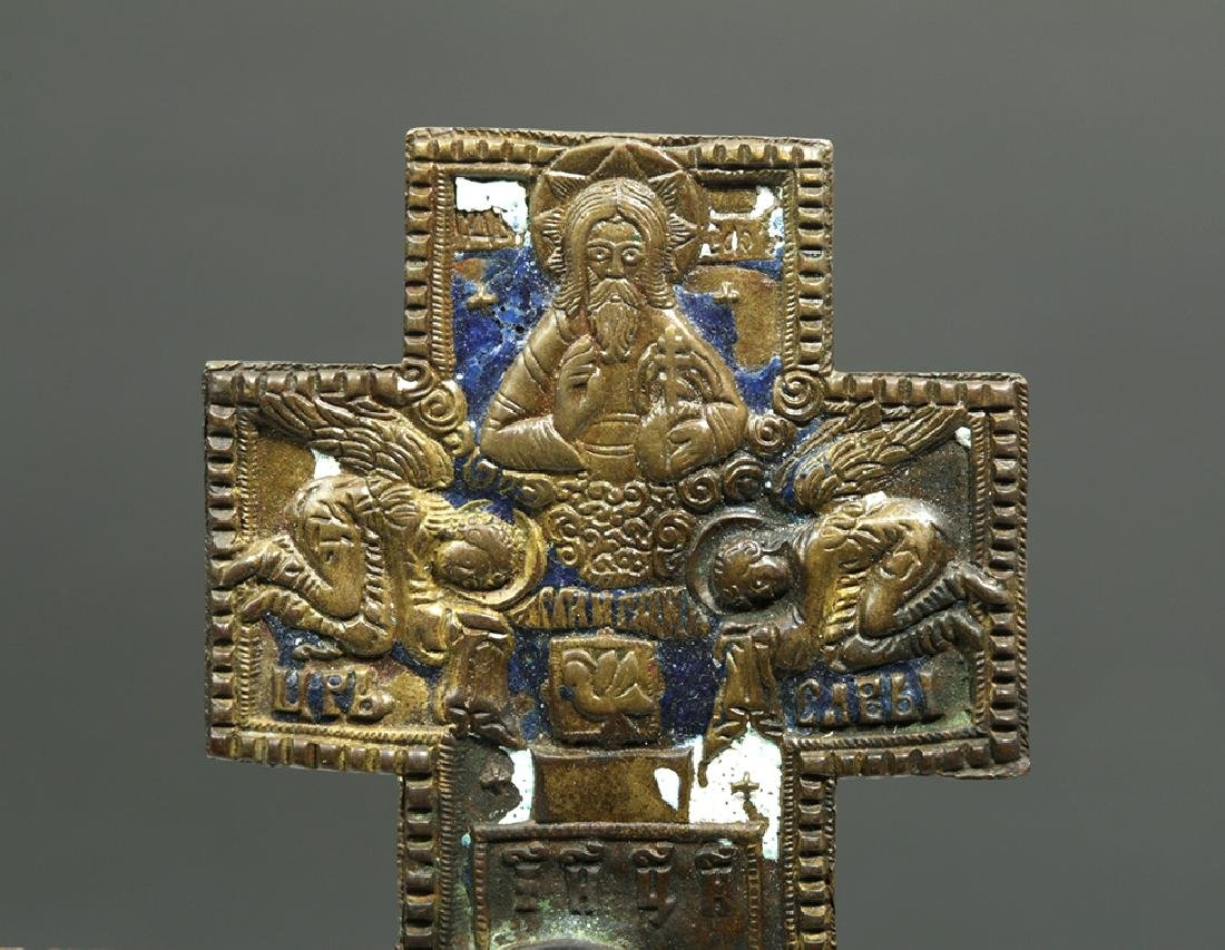 19th C. Russian Enameled Bronze Three-Bar Cross - 2