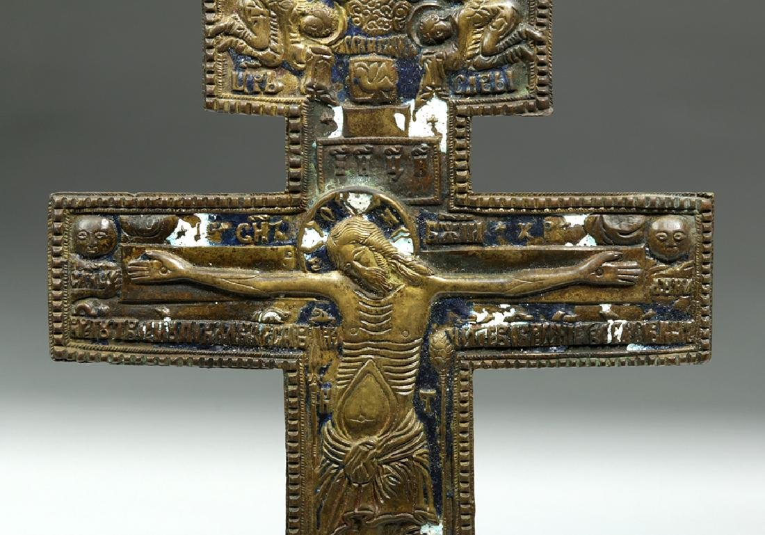 19th C. Russian Enameled Bronze Three-Bar Cross - 3