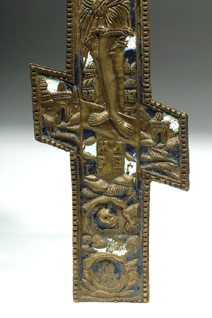 19th C. Russian Enameled Bronze Three-Bar Cross - 4