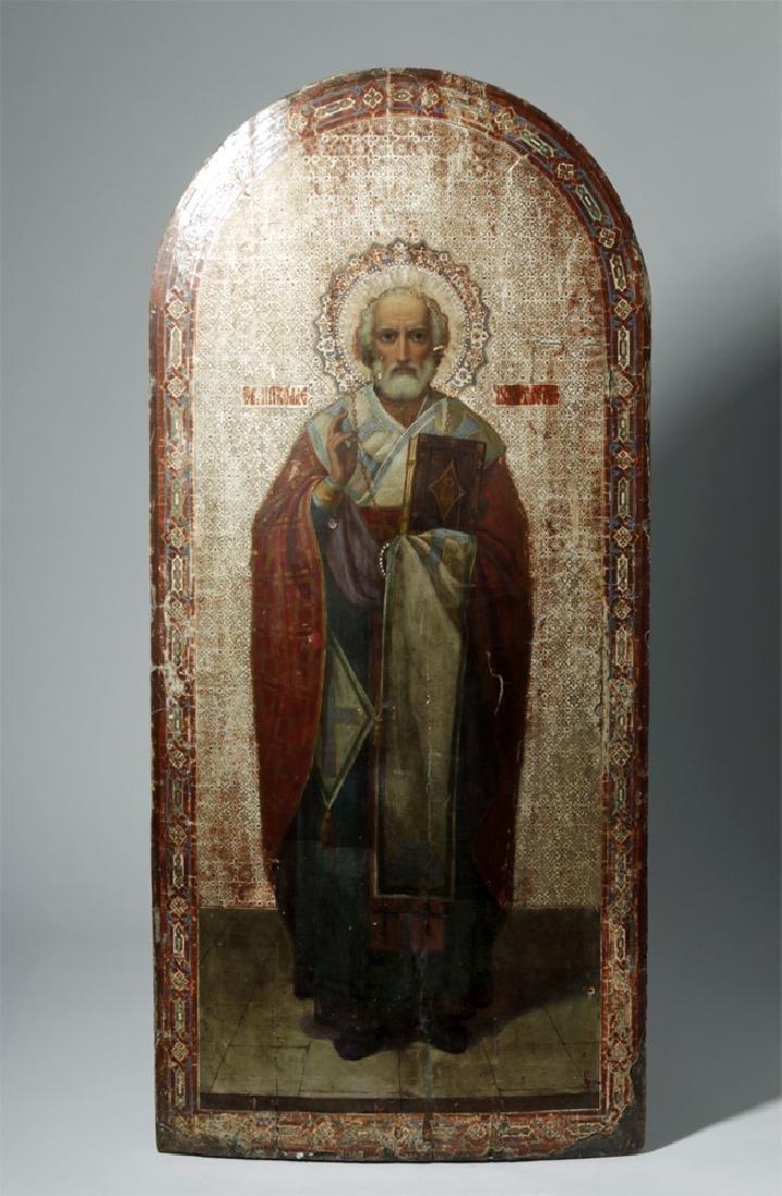 Exhibited 19th C. Russian Icon - St. Nicholas of Myra