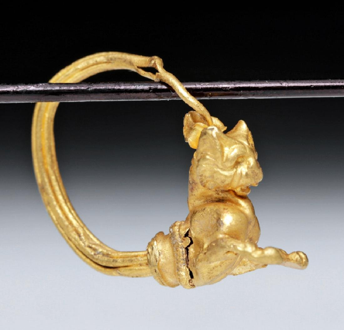 Hellenistic Greek 18K Gold Earring with Cat - 4.3 g
