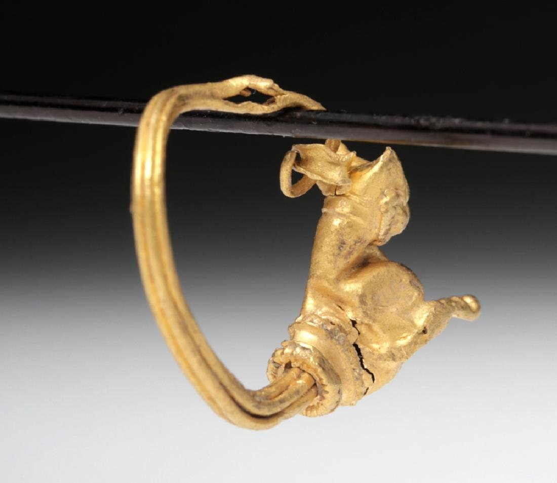 Hellenistic Greek 18K Gold Earring with Cat - 4.3 g - 3