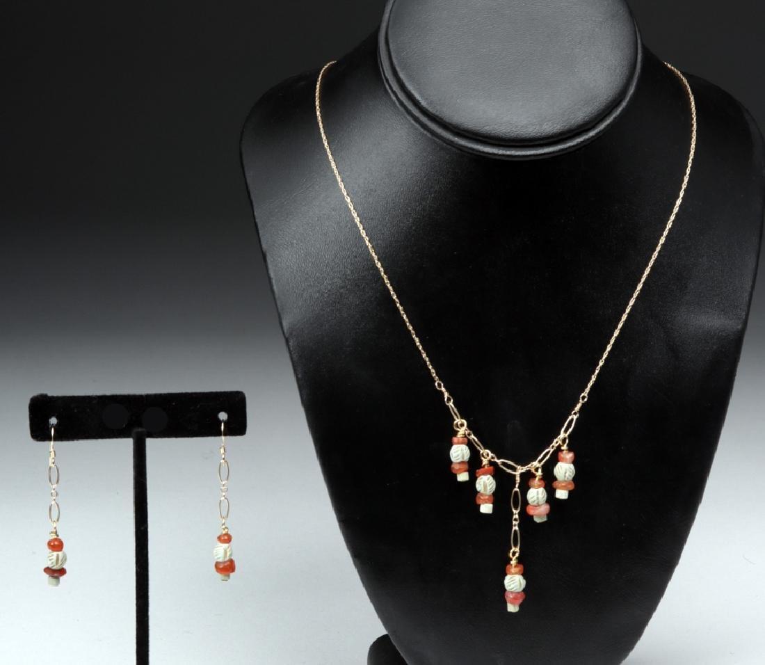 Sumerian Pendant Necklace & Earrings