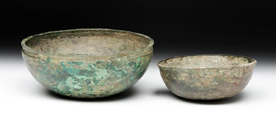 Lot of 2 Ancient Luristan Bronze Bowls - 4