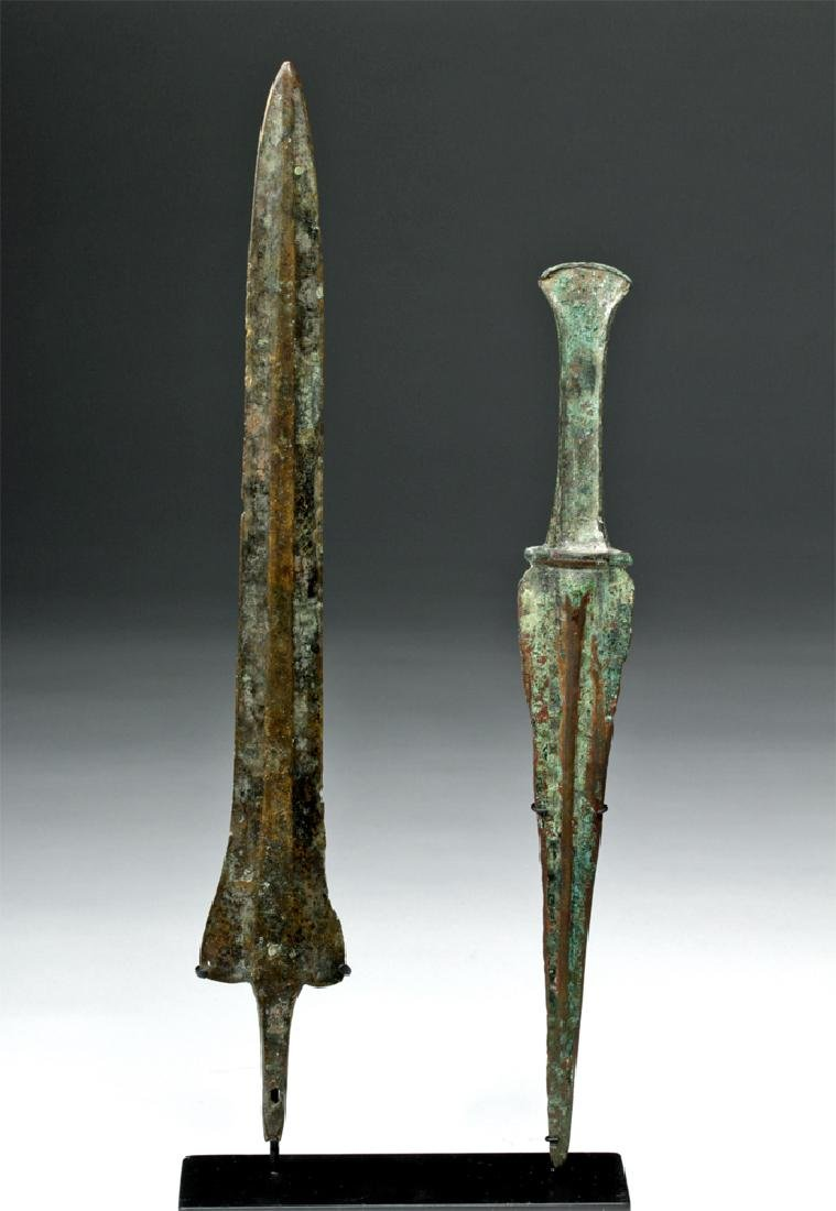 Pair of Luristan Bronze Weapons - Dagger & Spearhead