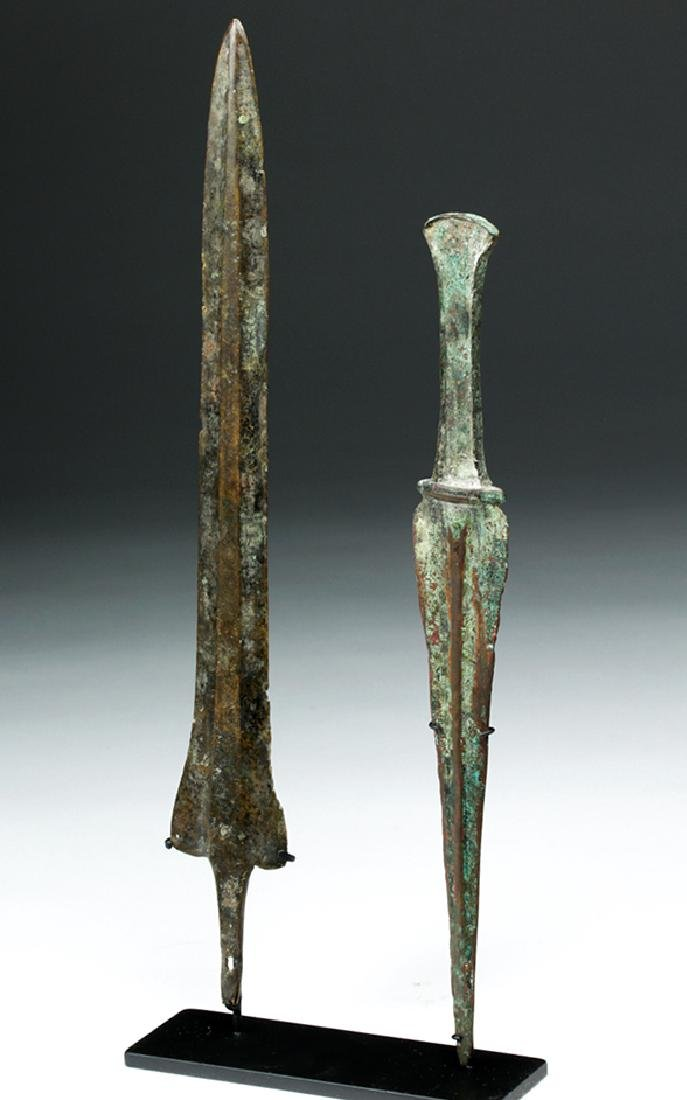 Pair of Luristan Bronze Weapons - Dagger & Spearhead - 2