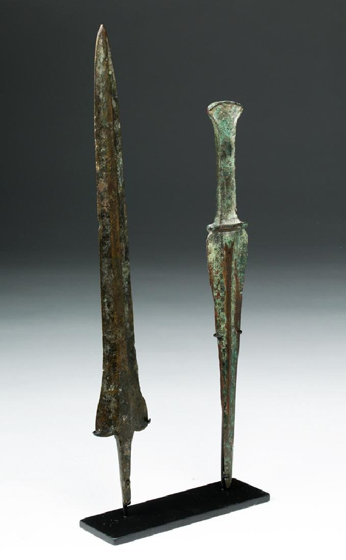 Pair of Luristan Bronze Weapons - Dagger & Spearhead - 3