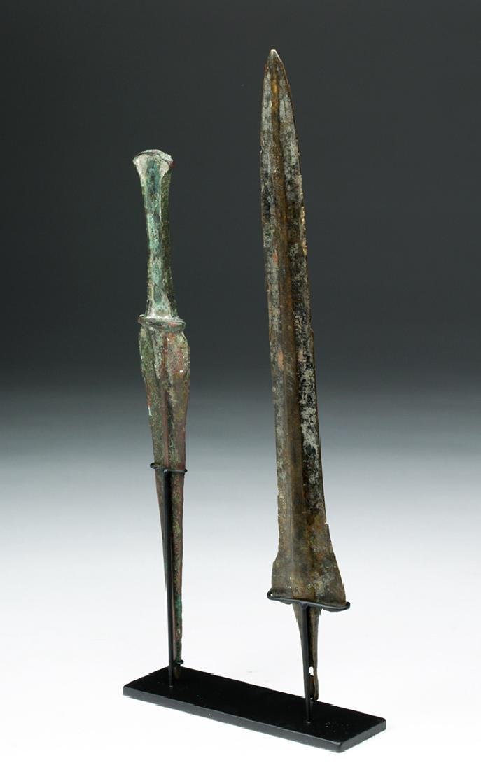 Pair of Luristan Bronze Weapons - Dagger & Spearhead - 4