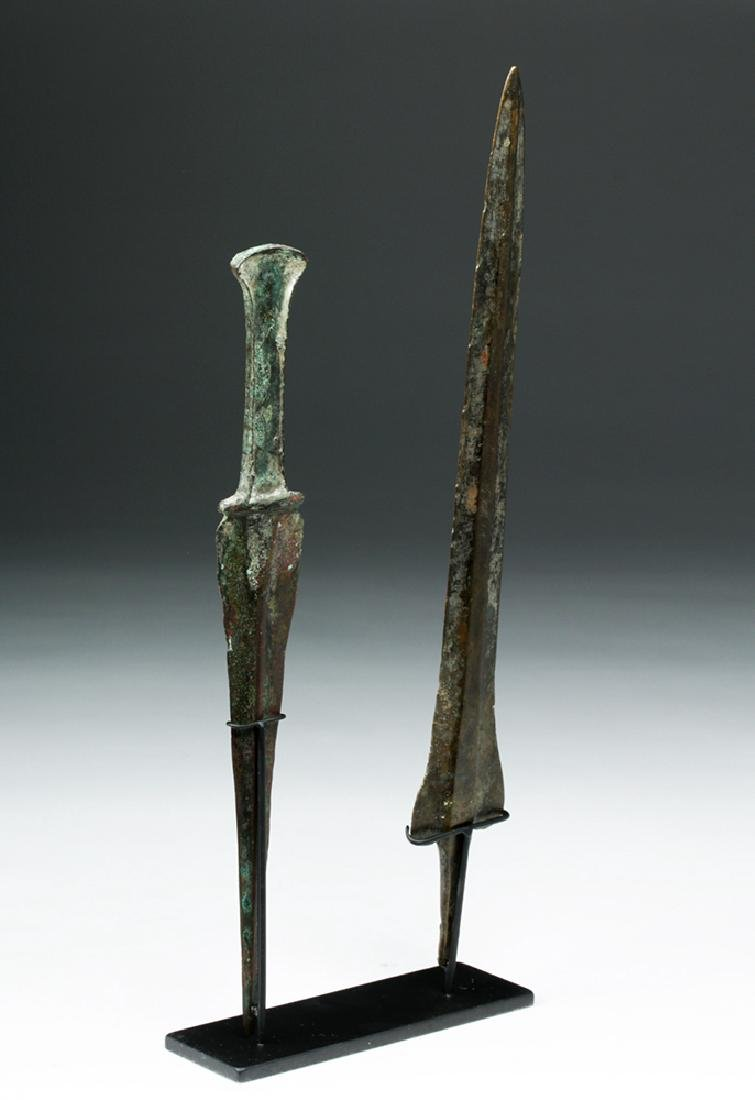 Pair of Luristan Bronze Weapons - Dagger & Spearhead - 5
