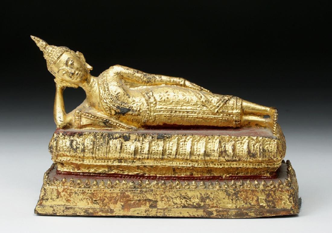 19th C. Burmese Gilded Bronze Parinirvana Buddha