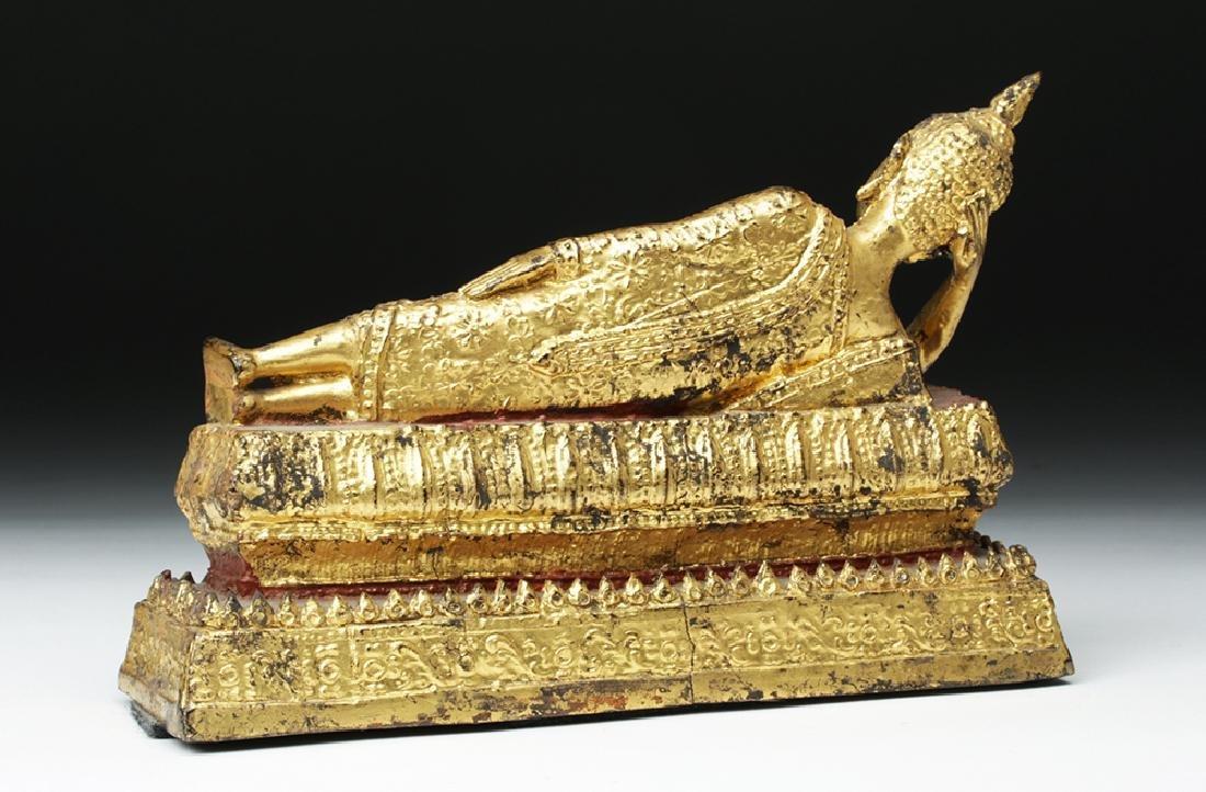 19th C. Burmese Gilded Bronze Parinirvana Buddha - 5