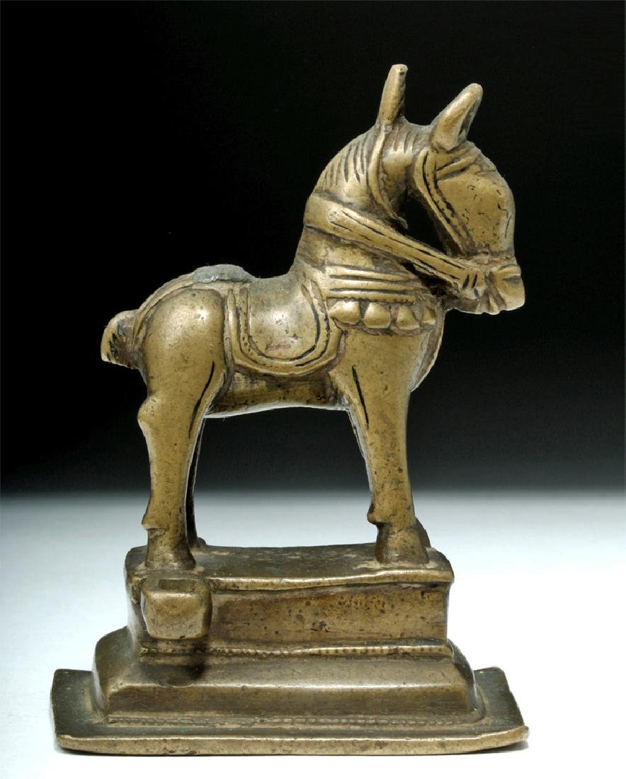 19th C. Indian Bronze Horse on Base