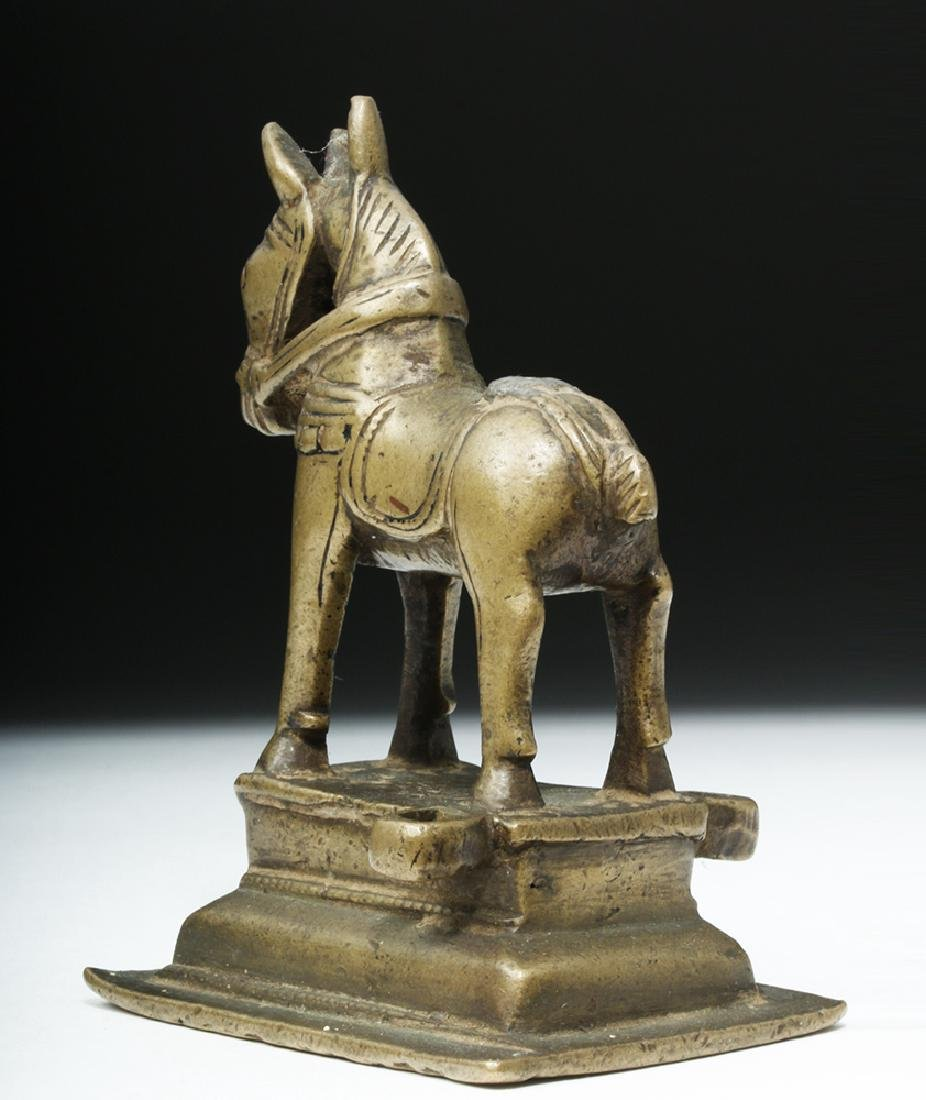 19th C. Indian Bronze Horse on Base - 4