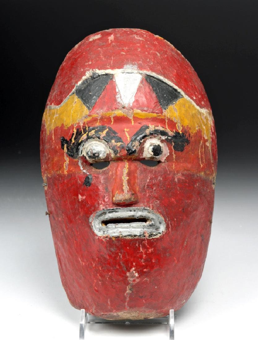 Early 20th C. Nepalese Painted Wood Festival Mask