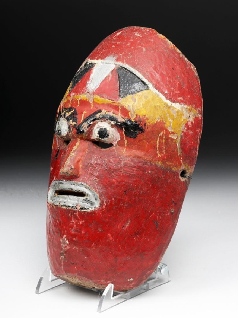 Early 20th C. Nepalese Painted Wood Festival Mask - 2