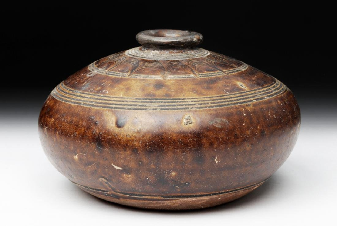 12th C. Khmer Glazed Pottery Jar - 4