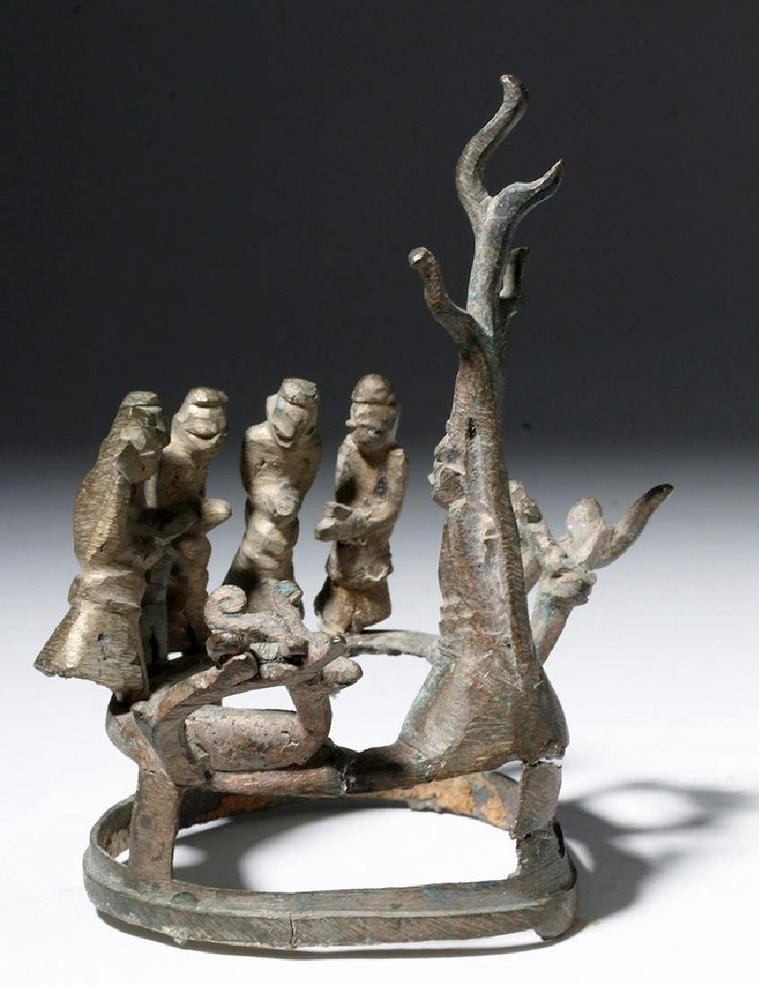 18th C. Burmese Bronze Buddha, Attendants, Deer - 2