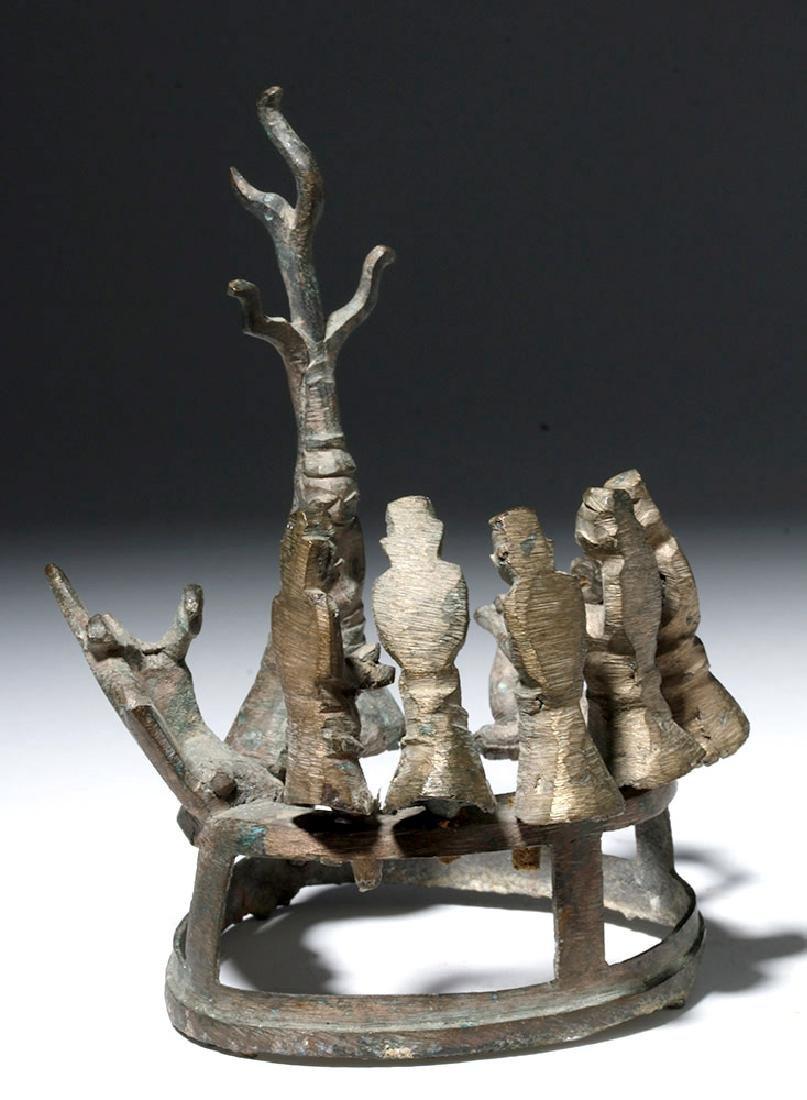 18th C. Burmese Bronze Buddha, Attendants, Deer - 4