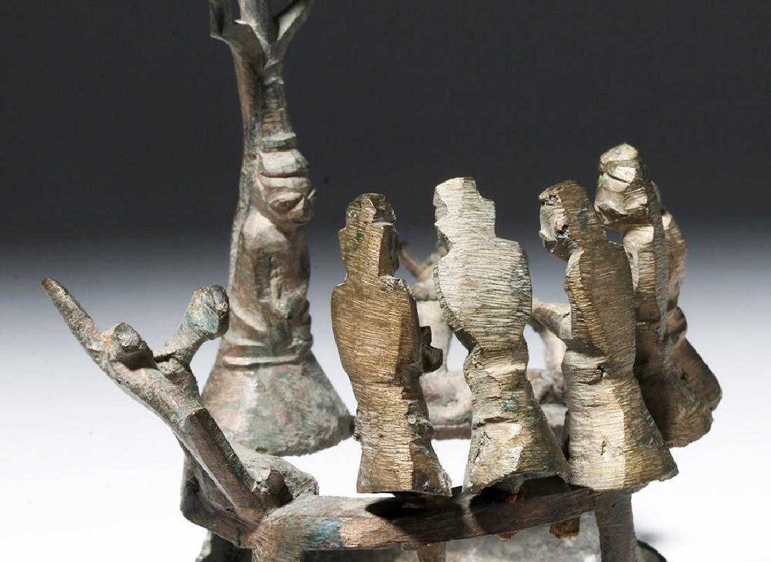 18th C. Burmese Bronze Buddha, Attendants, Deer - 5