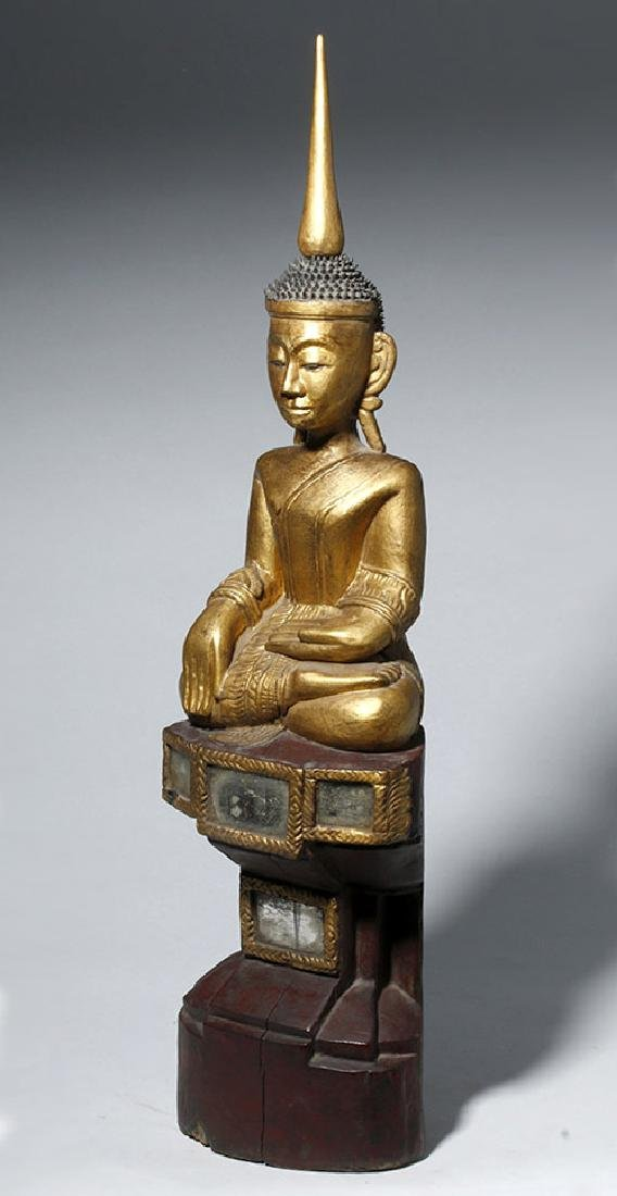 19th C. SE Asian Gilded Wood Buddha, Bhumisparsha Mudra