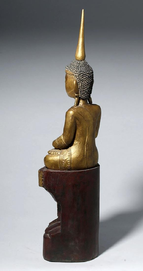 19th C. SE Asian Gilded Wood Buddha, Bhumisparsha Mudra - 2