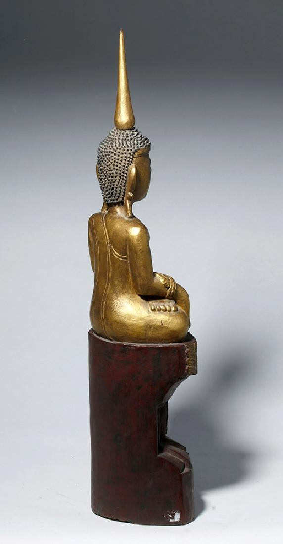 19th C. SE Asian Gilded Wood Buddha, Bhumisparsha Mudra - 3