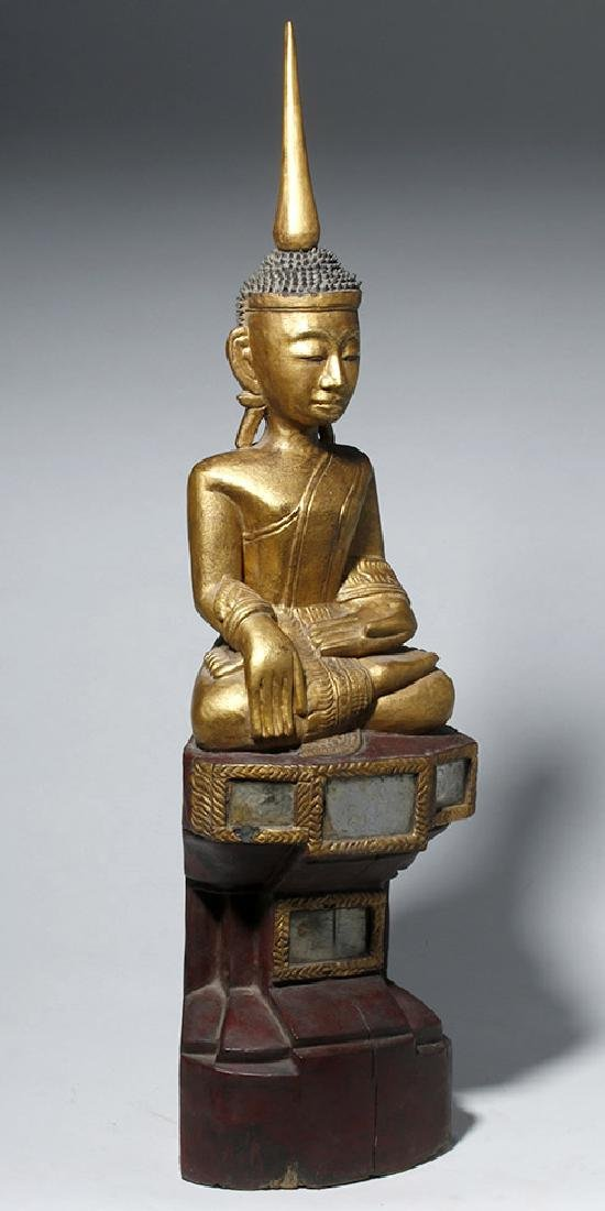 19th C. SE Asian Gilded Wood Buddha, Bhumisparsha Mudra - 4