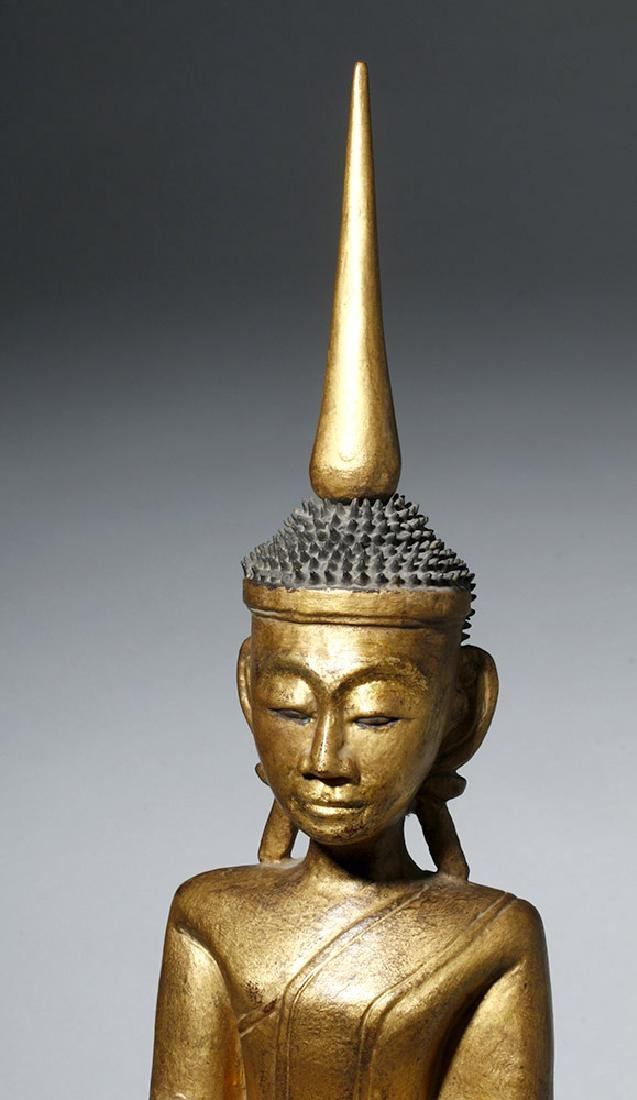 19th C. SE Asian Gilded Wood Buddha, Bhumisparsha Mudra - 5
