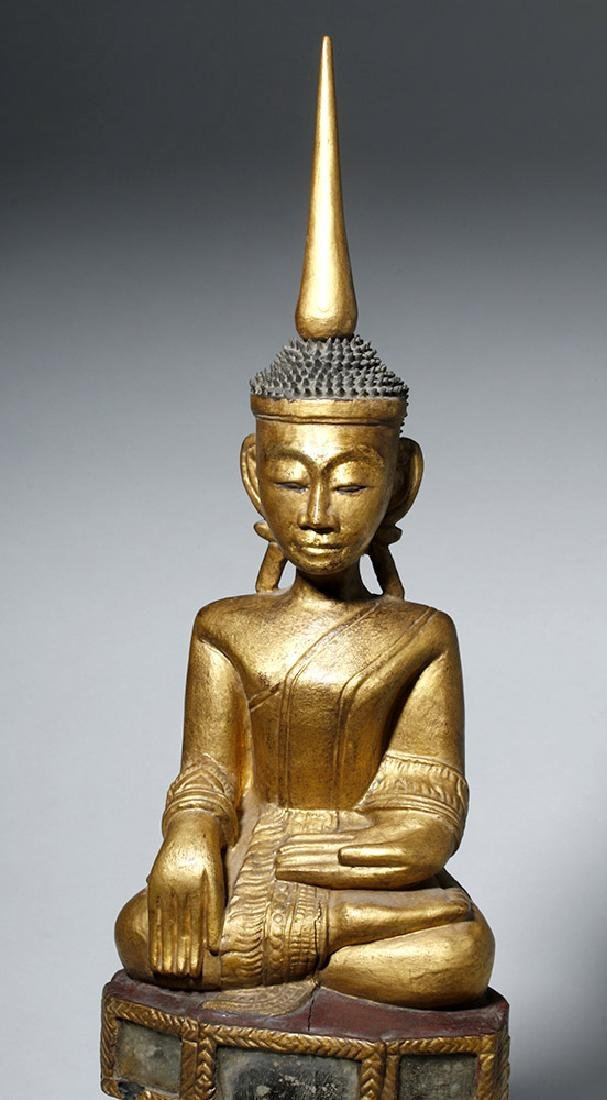 19th C. SE Asian Gilded Wood Buddha, Bhumisparsha Mudra - 6