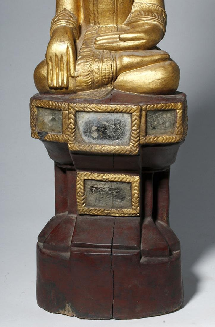 19th C. SE Asian Gilded Wood Buddha, Bhumisparsha Mudra - 7