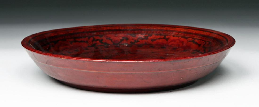 19th C. Chinese Qing Dynasty Lacquered Wood Bowl - 3