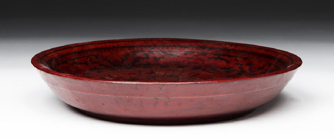 19th C. Chinese Qing Dynasty Lacquered Wood Bowl - 4