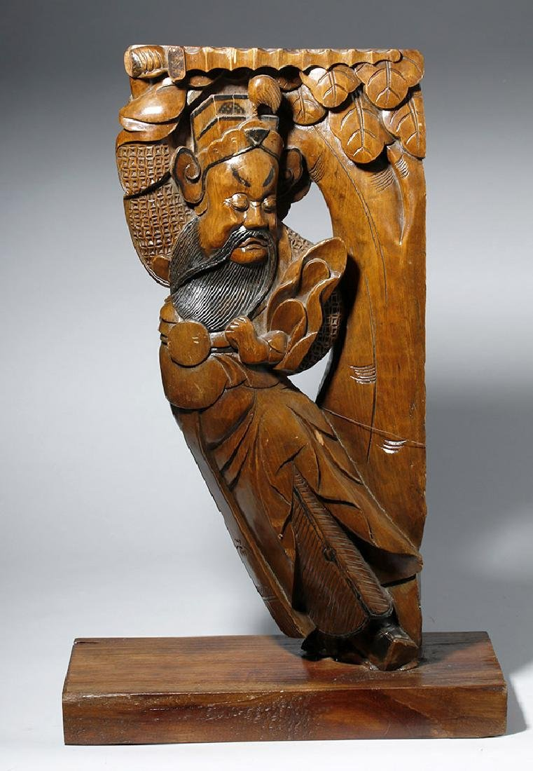 19th C. Chinese Carved Wood Corbel from Temple