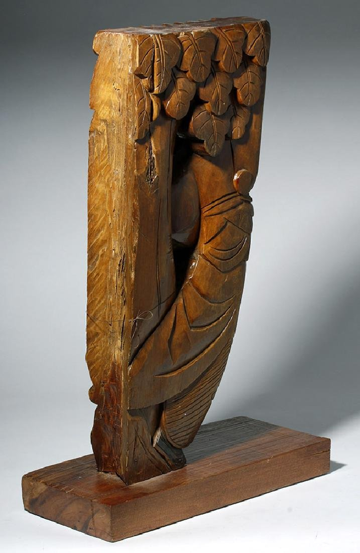 19th C. Chinese Carved Wood Corbel from Temple - 4
