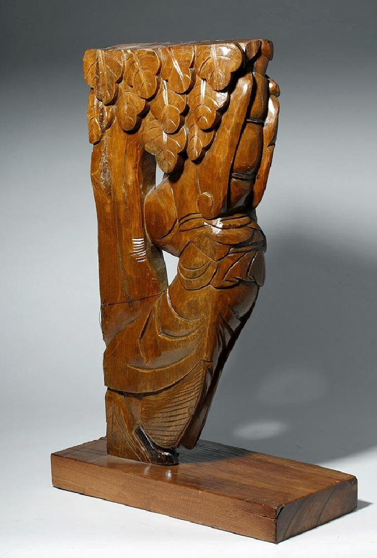 19th C. Chinese Carved Wood Corbel from Temple - 6