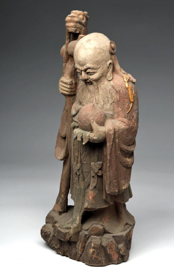 19th C. Chinese Camphor Wood Statue - God of Wisdom