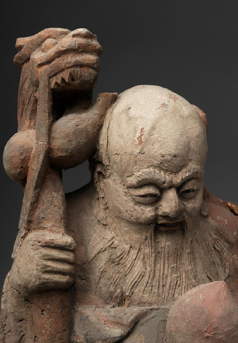 19th C. Chinese Camphor Wood Statue - God of Wisdom - 6