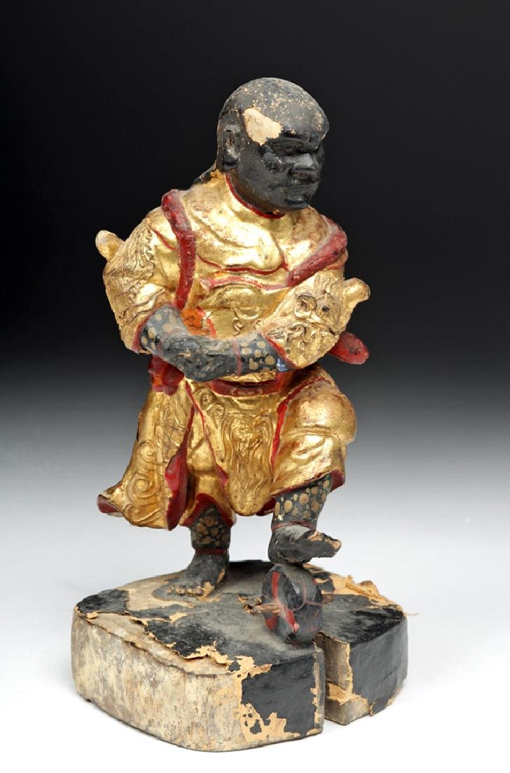 19th C. Chinese Gilded Wood Acrobat Figure