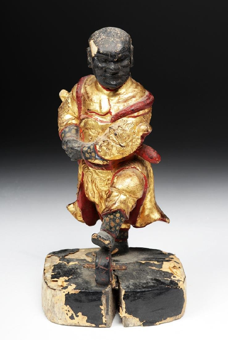 19th C. Chinese Gilded Wood Acrobat Figure - 2