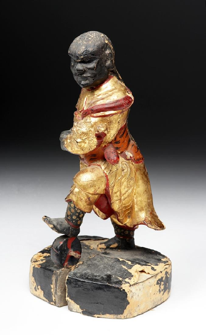 19th C. Chinese Gilded Wood Acrobat Figure - 3